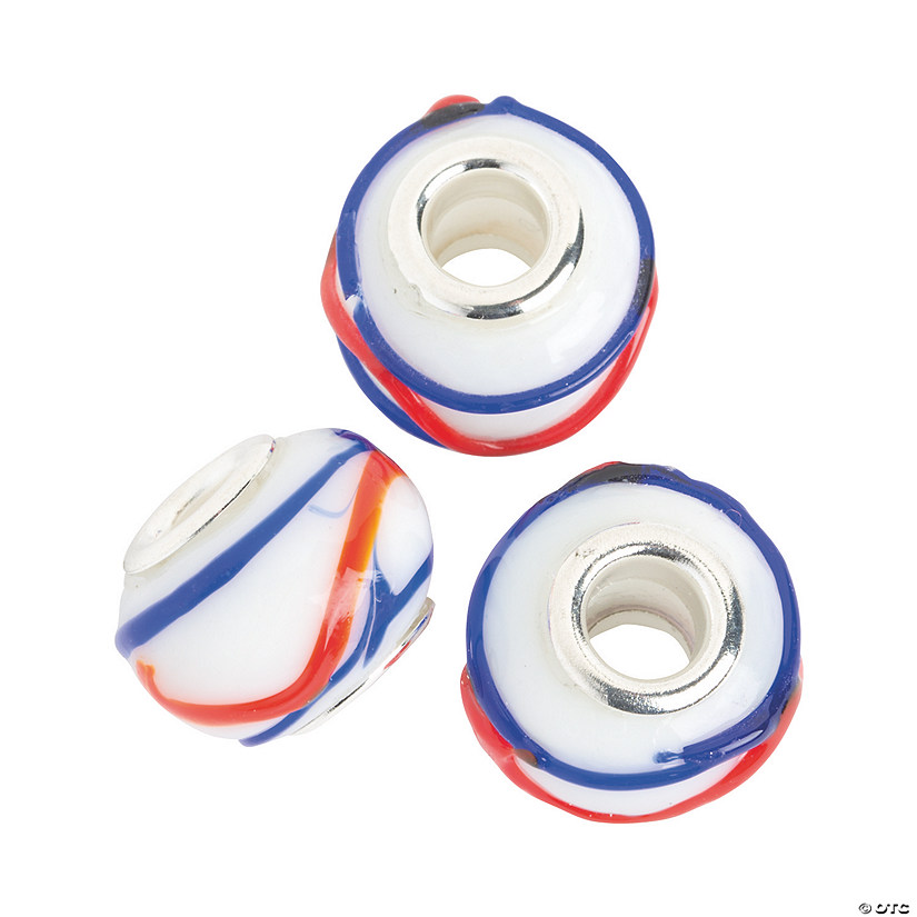 Patriotic Large Hole Beads - 15mm
