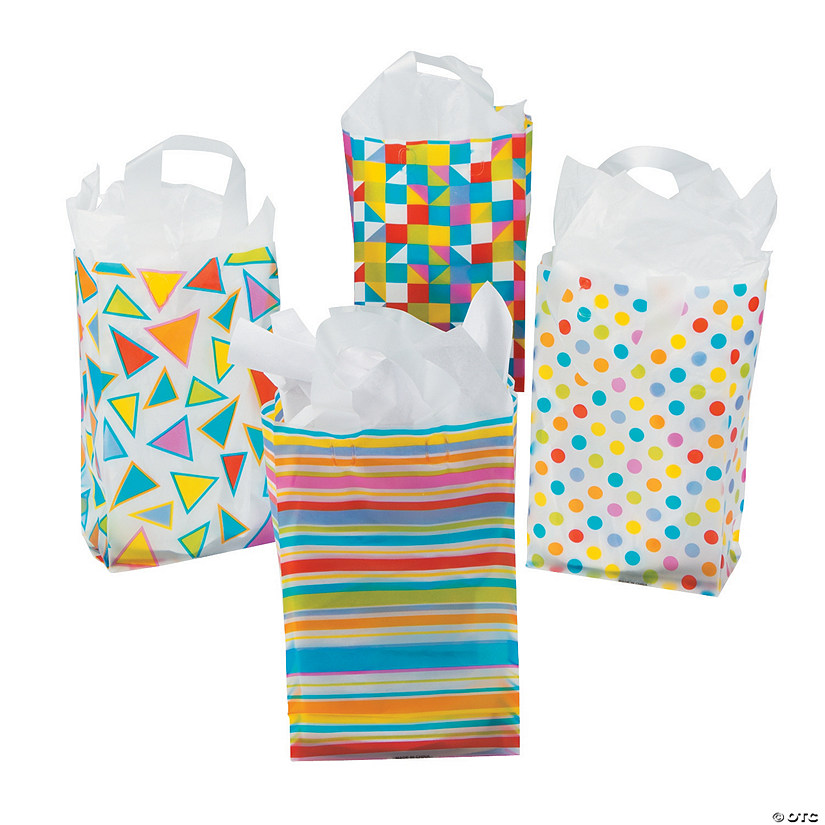 Patterned Plastic Treat Bags with Handles