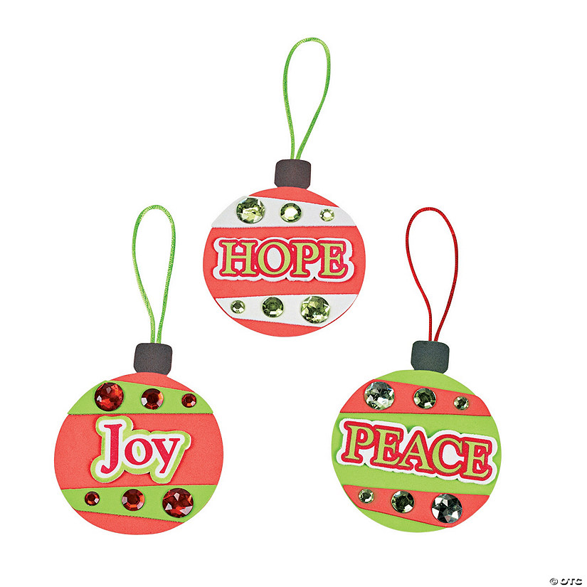 """Peace"", ""Hope"" & ""Joy"" Christmas Ornament Craft Kit"