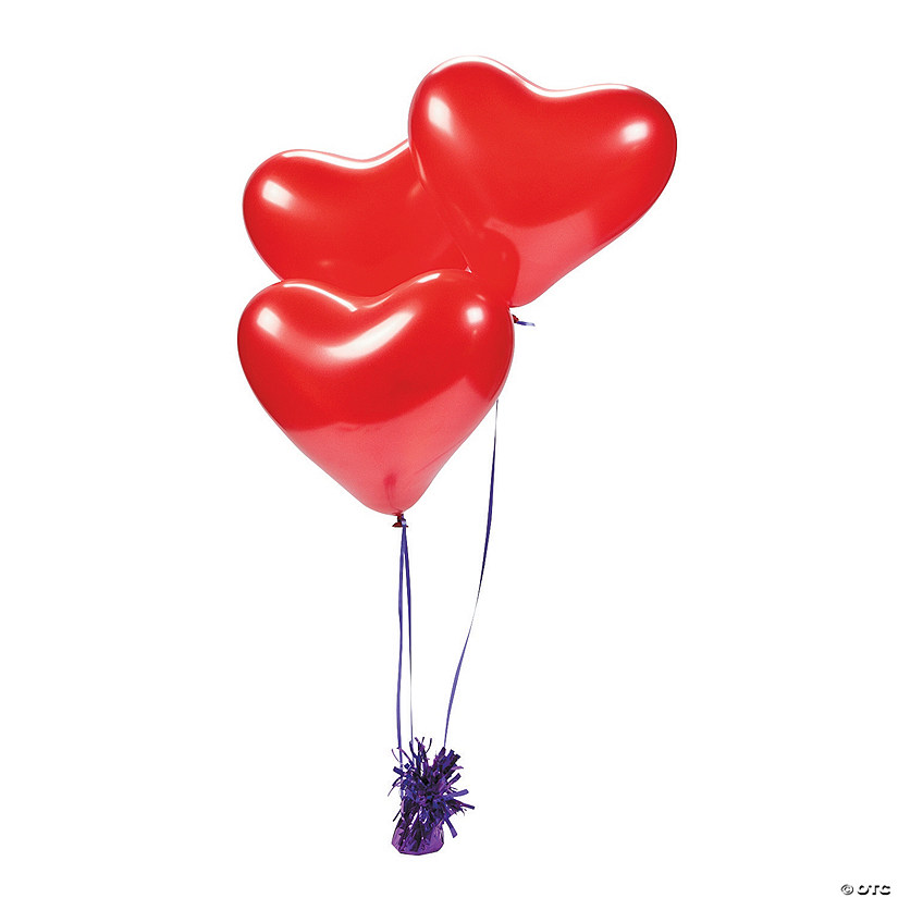"Pearlized Red Heart 11"" Latex Balloons"