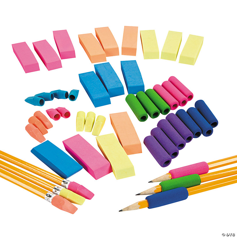 Pencil Grips, Erasers & Toppers