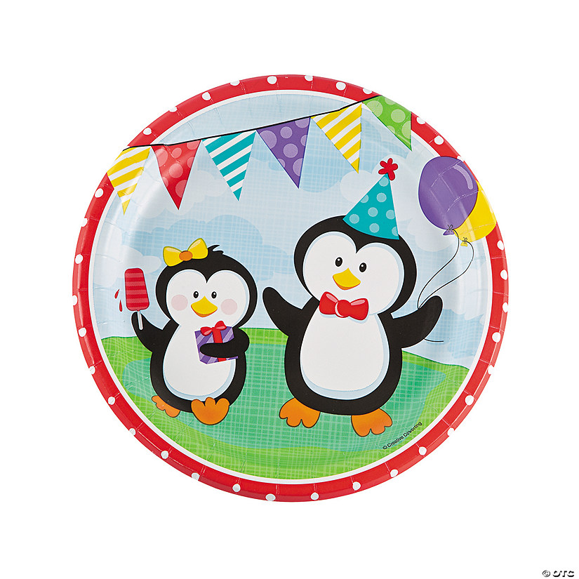 Penguin Party Paper Dinner Plates