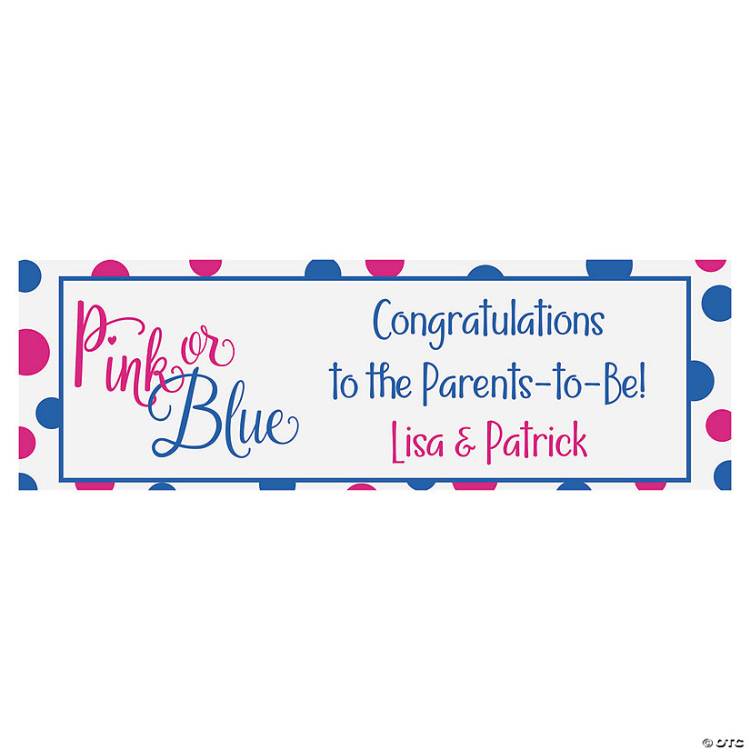 Personalized Pink or Blue Gender Reveal Banner