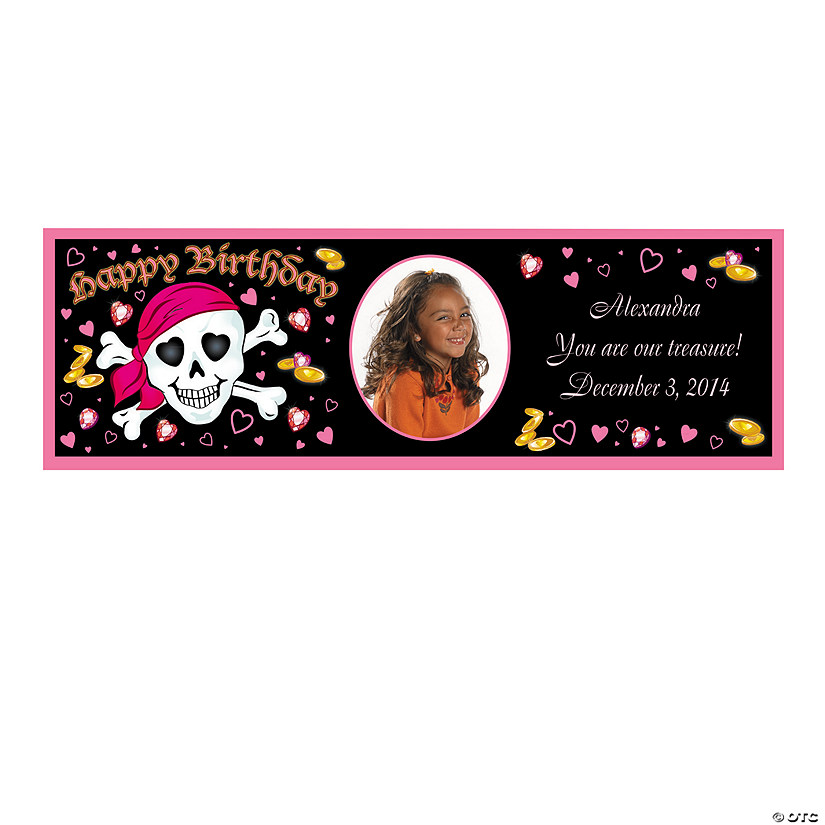 Personalized Pink Pirate Photo Banners