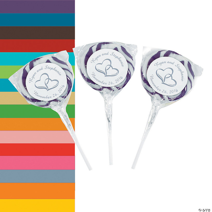Personalized Two Hearts Swirl Pops