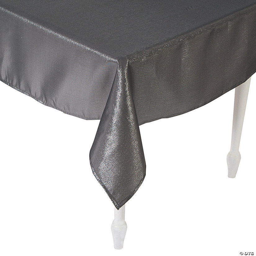 "Pewter Metallic Polyester Tablecloth - 60"" x 84"""