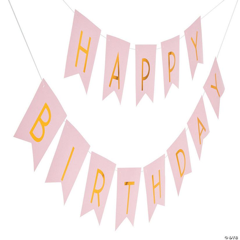 Pink & Gold Happy Birthday Banner