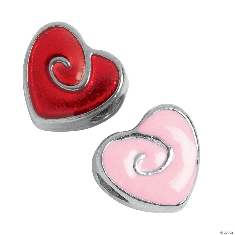Pink & Red Swirl Heart Large Hole Beads - 7mm x 11mm x 11mm with a 4mm hole