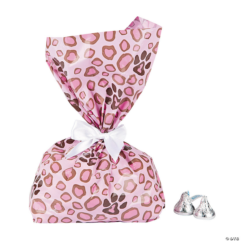 Pink Cheetah Print Cellophane Bags