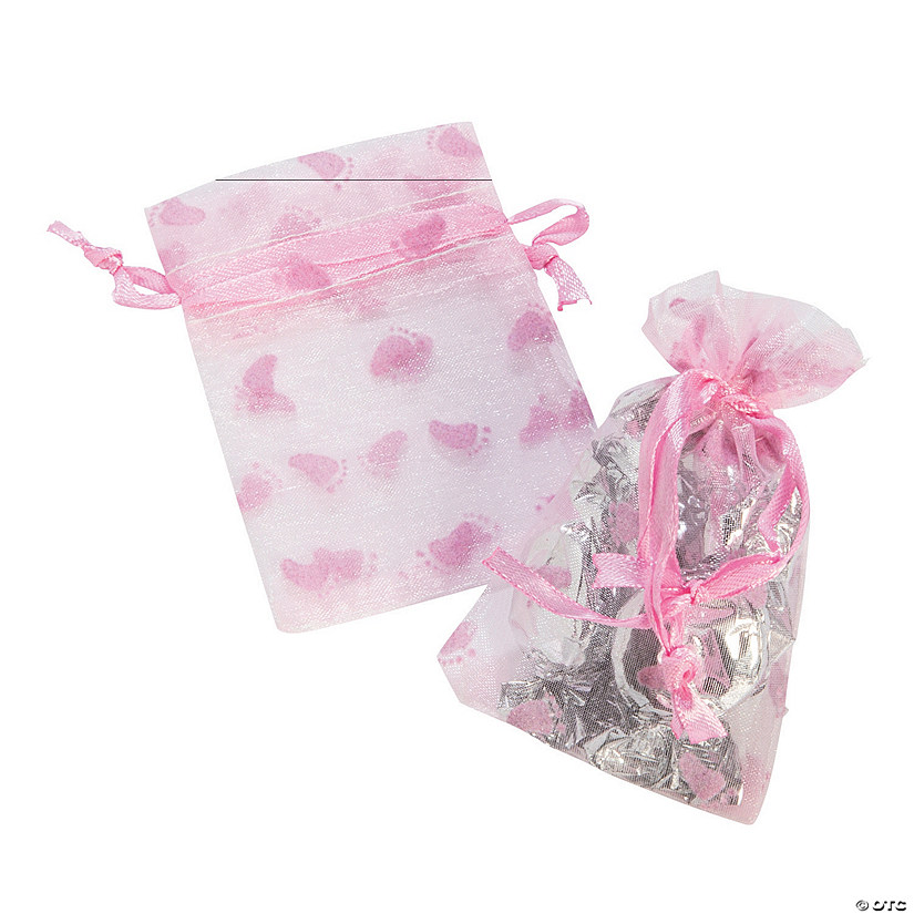 Pink Girl Baby Shower Organza Drawstring Treat Bags