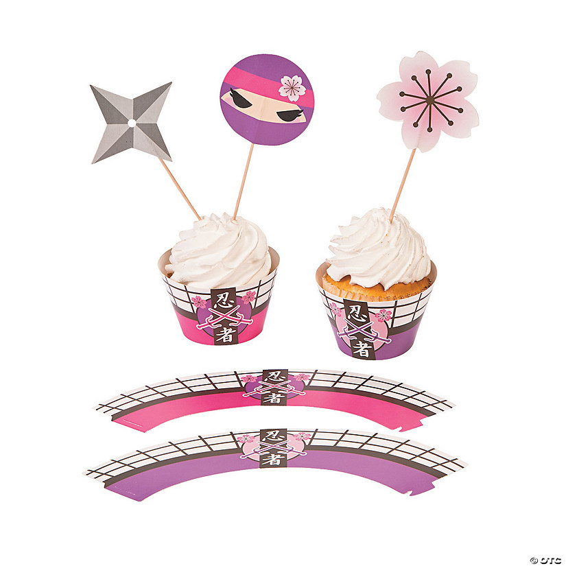 Pink Ninja Cupcake Wrappers with Picks