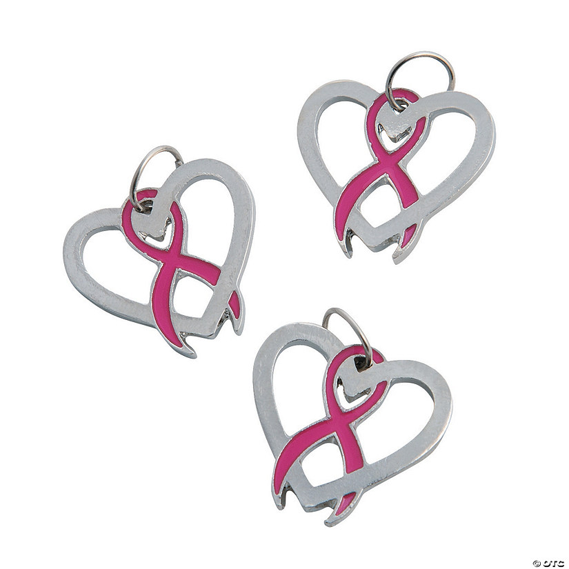 Pink Ribbon Heart Charms