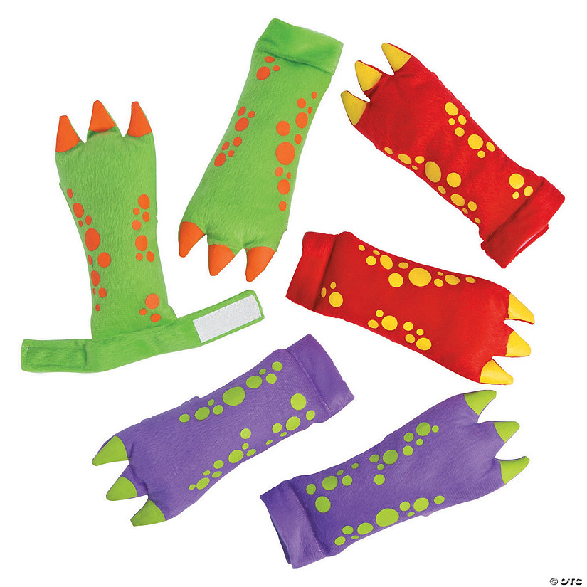 Plush Dinosaur Gloves