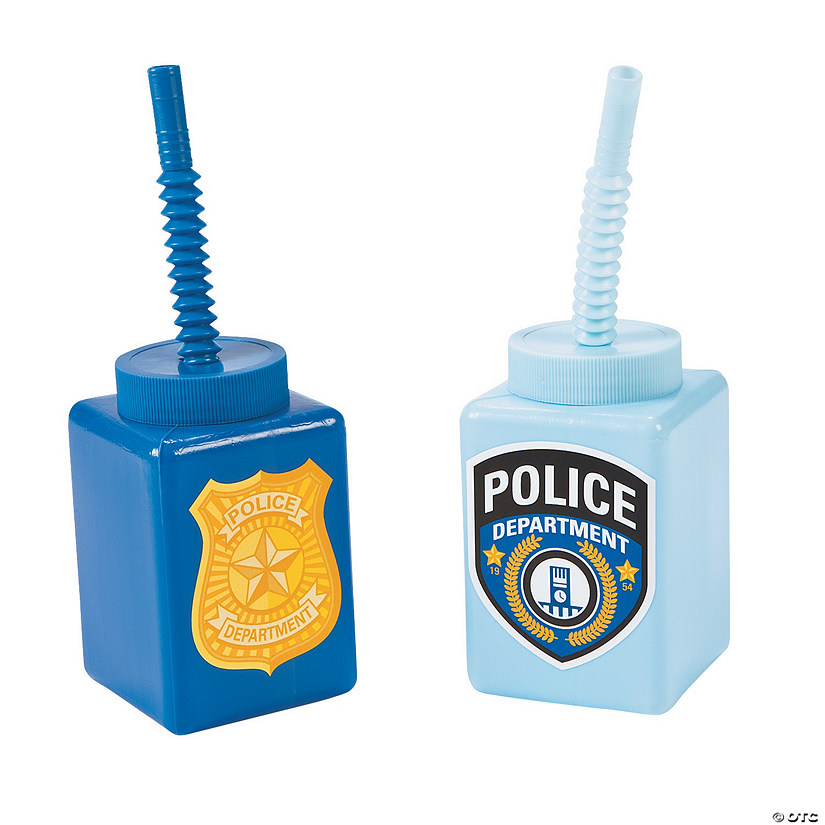 Police Party Cups with Straws
