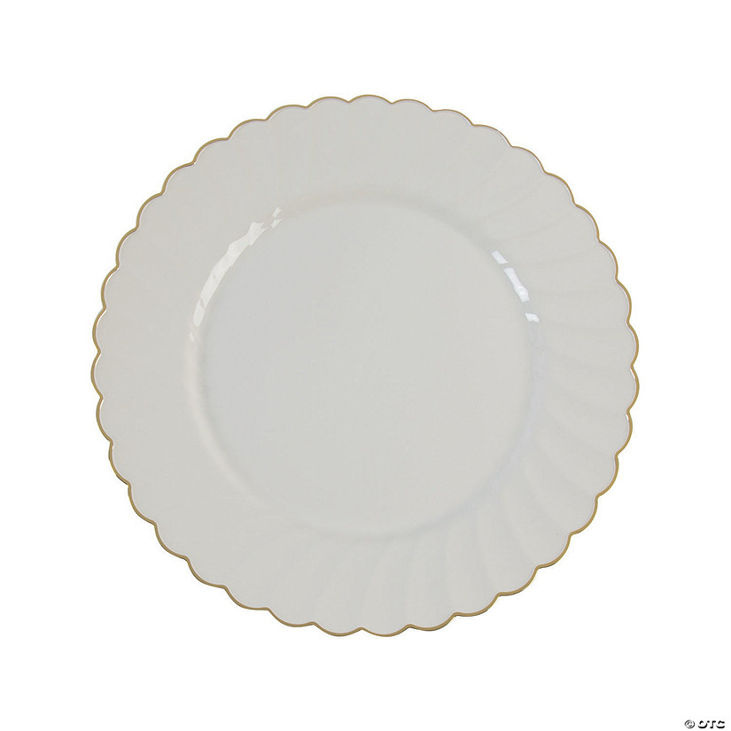 Premium Cream with Gold Scallop Plastic Dinner Plates