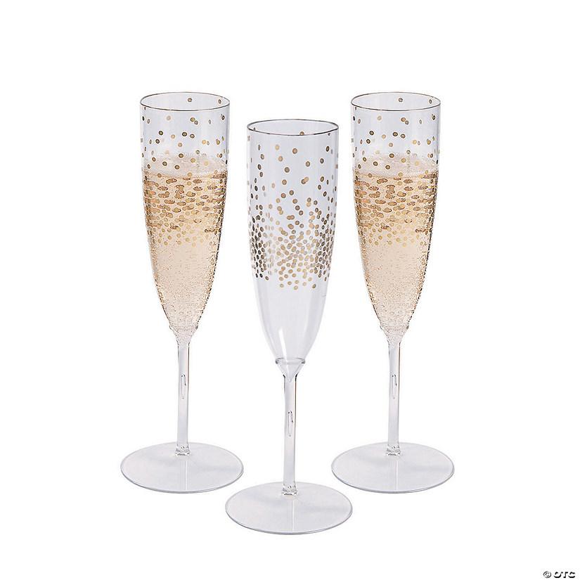 premium plastic gold dot champagne flutes. Black Bedroom Furniture Sets. Home Design Ideas