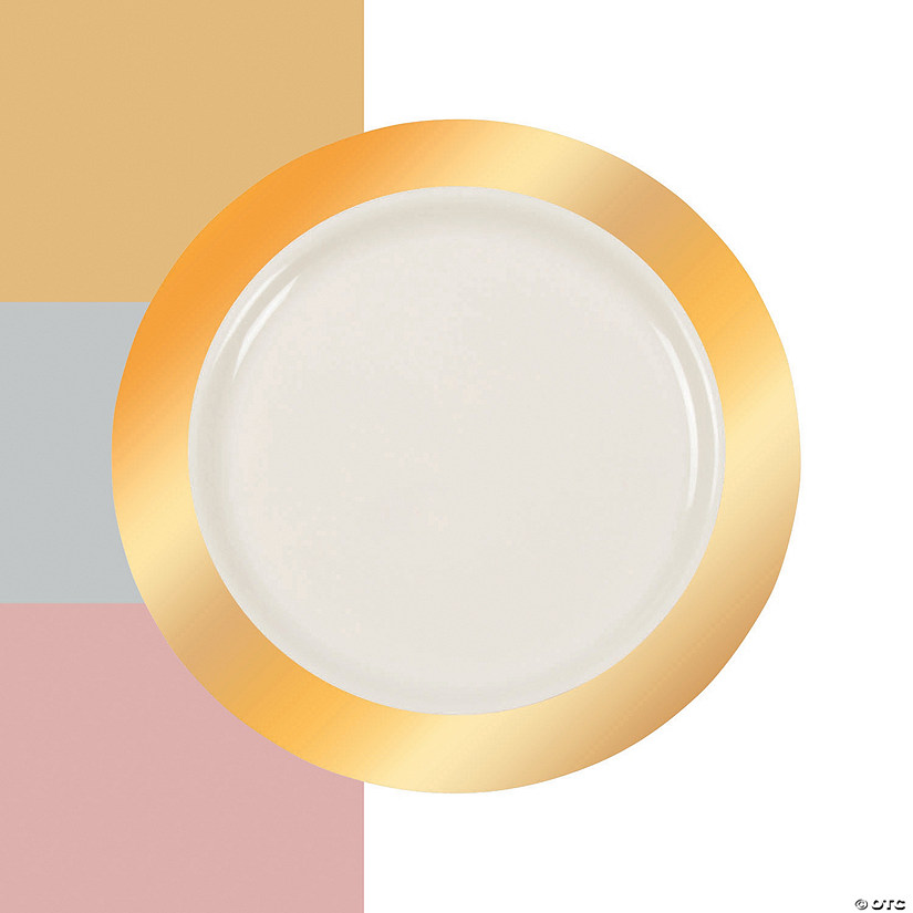Premium Plastic Ivory Dinner Plates with Metallic Border