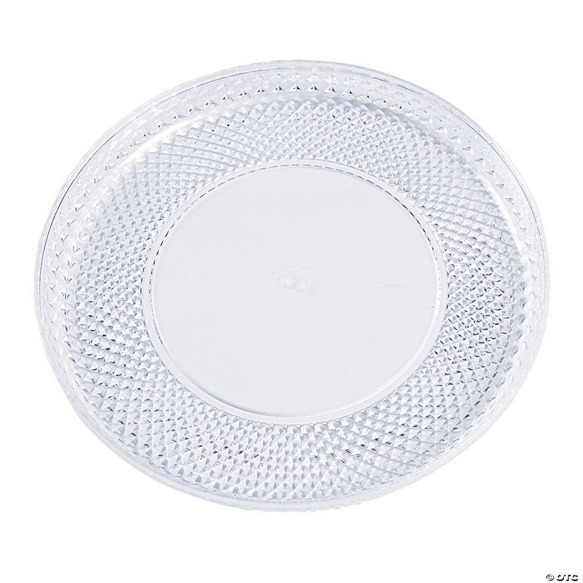 Premium Round Plastic Serving Tray with Diamond Cut Edging - Large