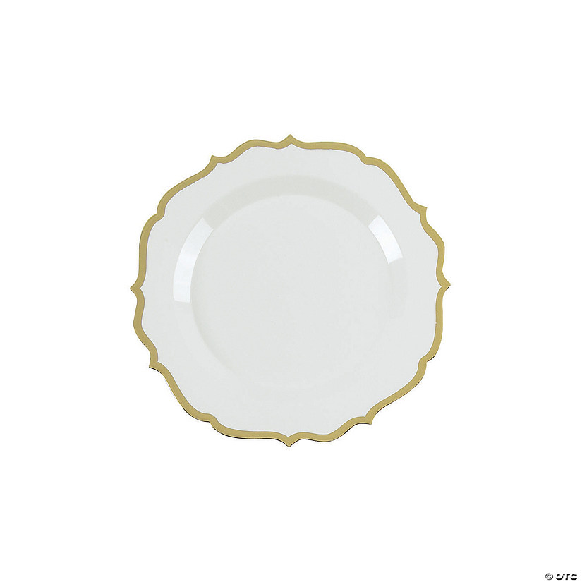 Premium White with Gold Ornate Plastic Dessert Plates