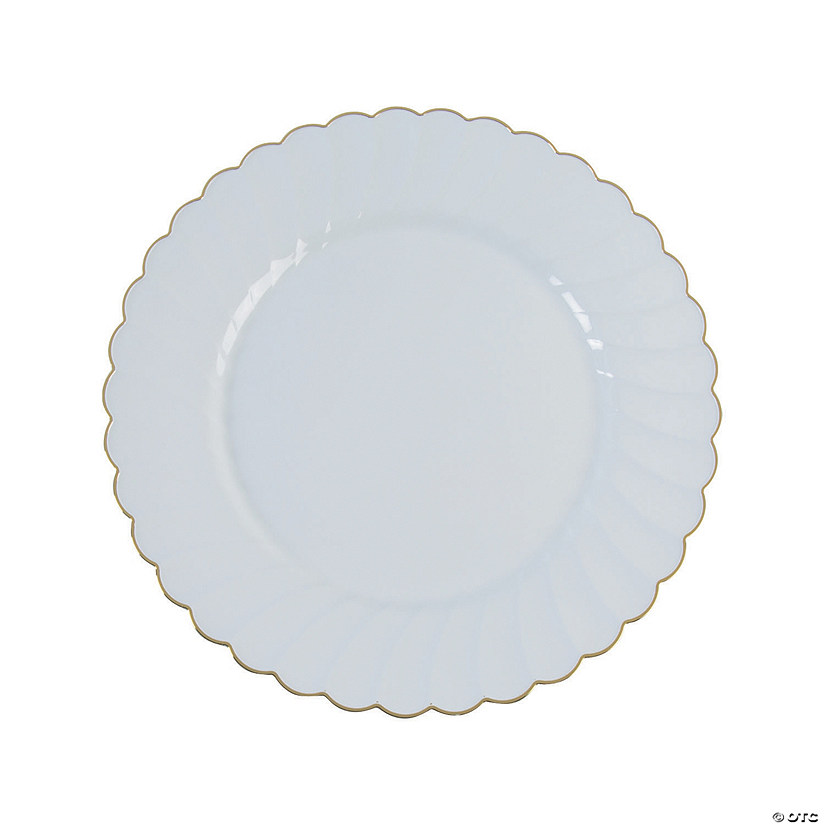 Premium White with Gold Scallop Plastic Dinner Plates