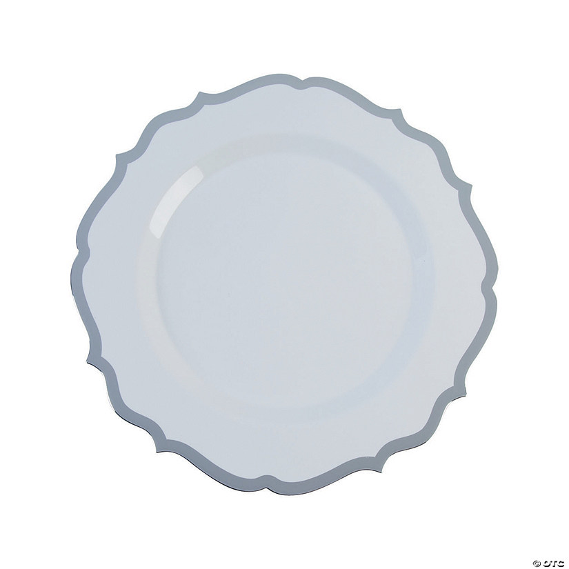 Premium White with Silver Ornate Plastic Dinner Plates