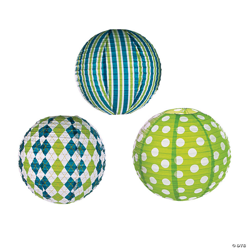 Preppy Print Blue & Green Hanging Paper Lanterns