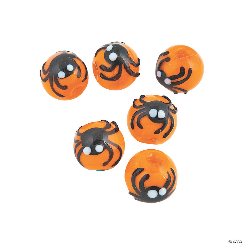 Pumpkins with Spider Lampwork Beads - 13mm