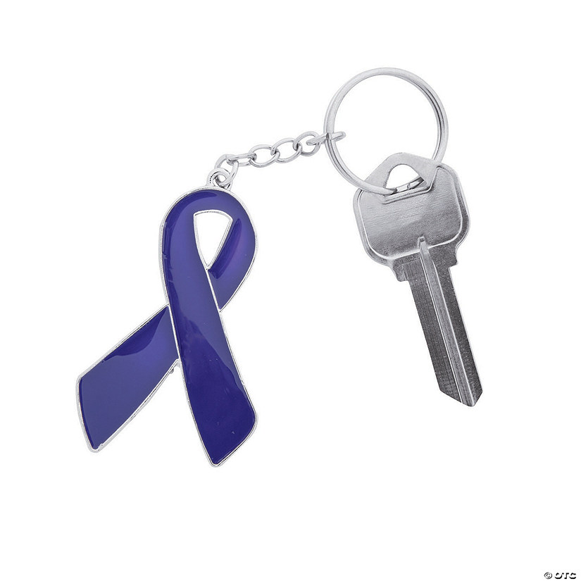 Purple Awareness Ribbon Enamel Keychains