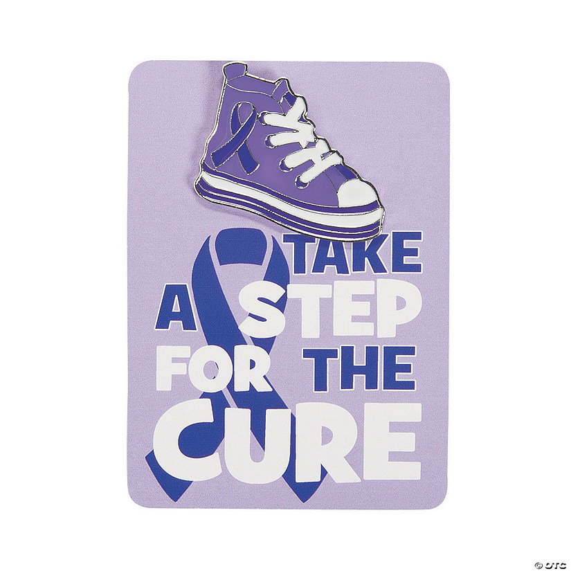 Purple Awareness Ribbon Pins on Card