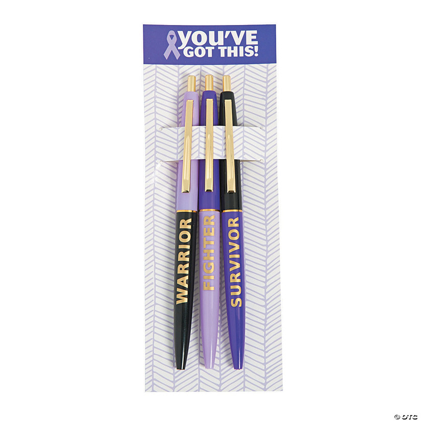 Purple Awareness Ribbon Survivor Pens