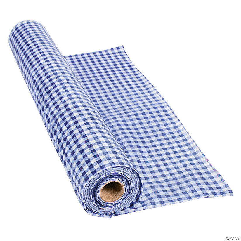 Purple Gingham Plastic Tablecloth Roll