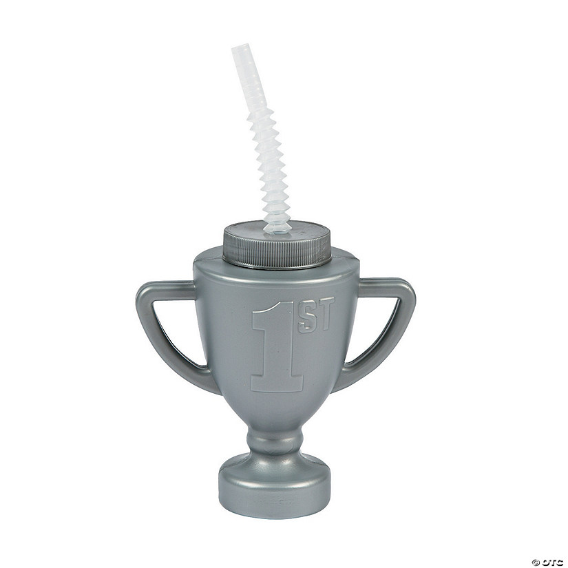 Race Car Trophy Cups with Lids & Straws
