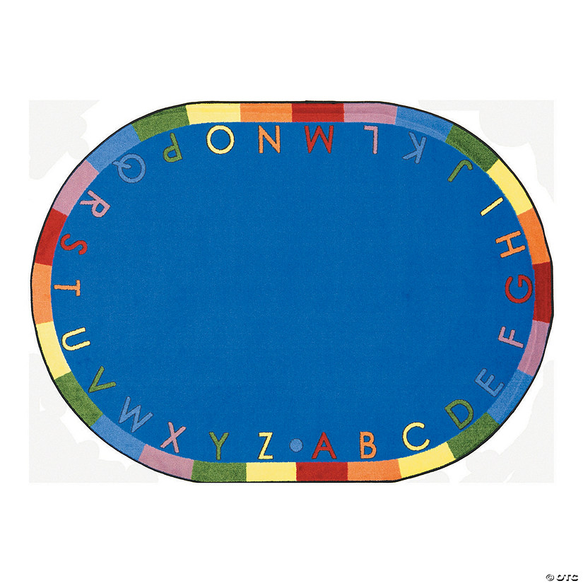 "Rainbow Alphabet® Classroom Rug - 7 ft. 8"" x 10 ft. 9"" Oval Soft"