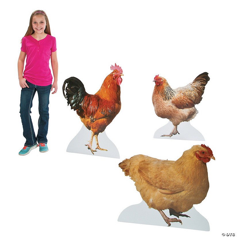 Realistic Rooster & Chicken Cardboard Stand-Ups