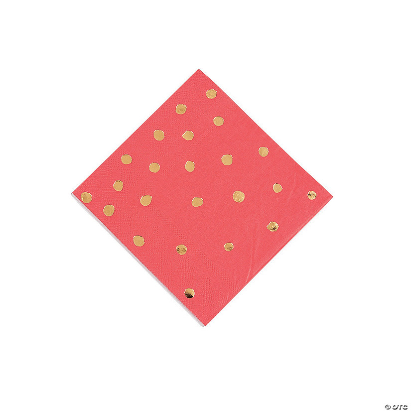 Red & Gold Foil Polka Dot Beverage Paper Napkins