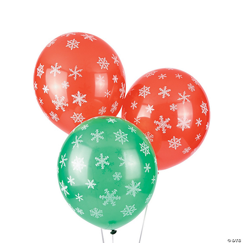 "Red & Green Snowflake 11"" Latex Balloons"