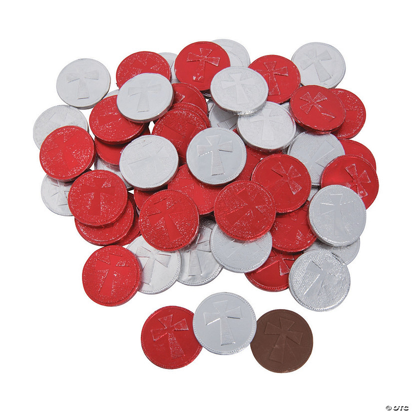 Red & Silver Cross Chocolate Coins