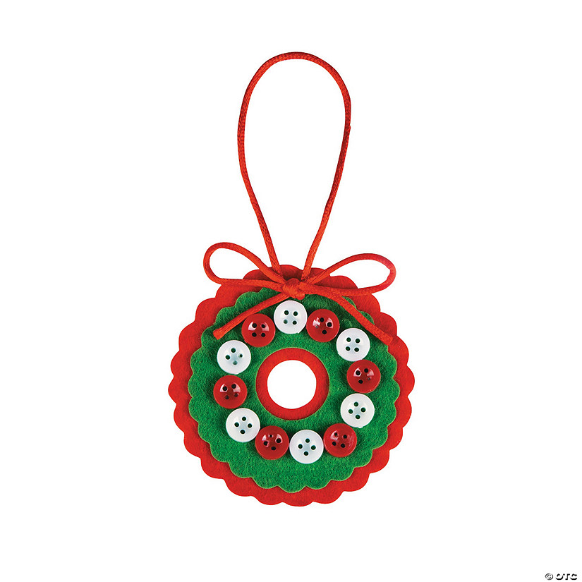Red & White Button Wreath Christmas Ornament Craft Kit