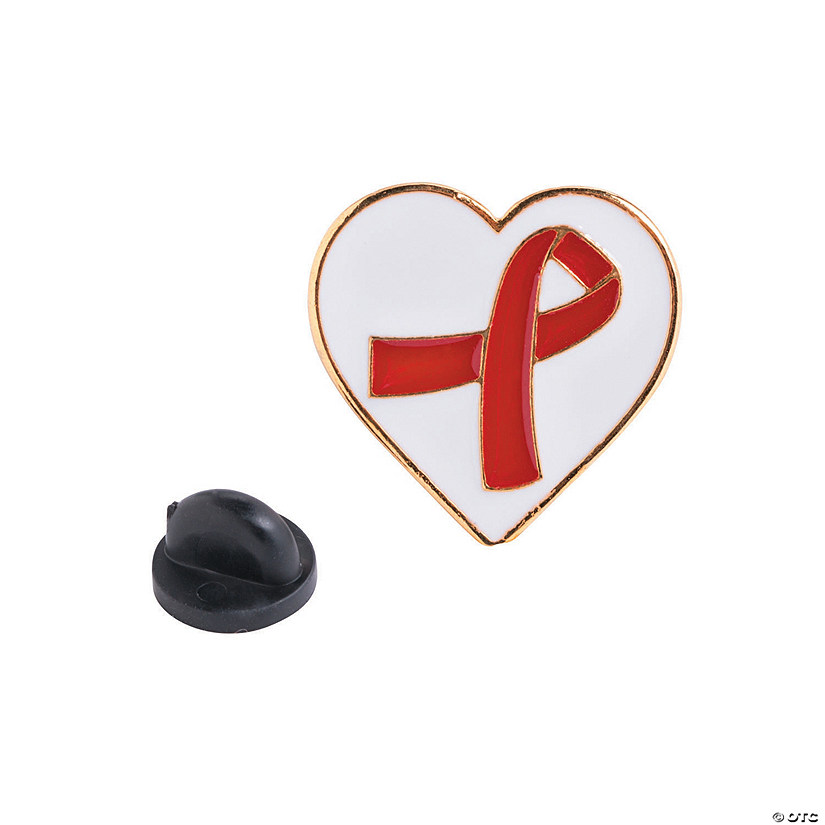 Red Awareness Ribbon on Heart Pins