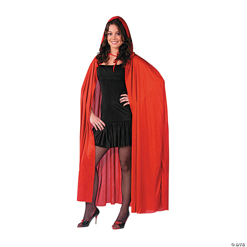 Red Cape Hooded Halloween Costume for Adults