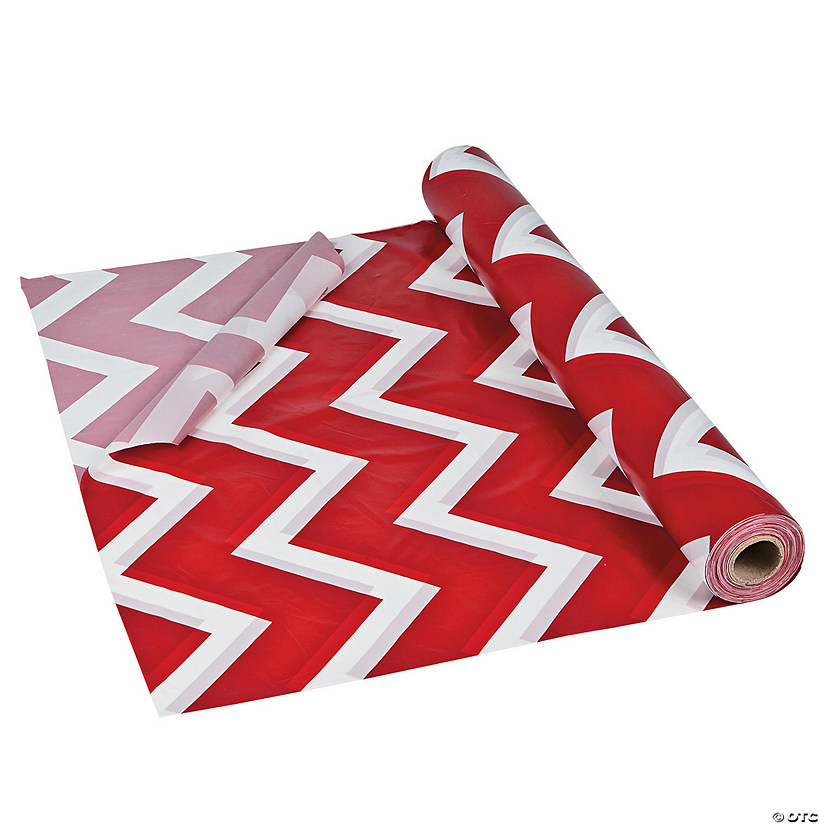 Red Chevron Plastic Tablecloth Roll