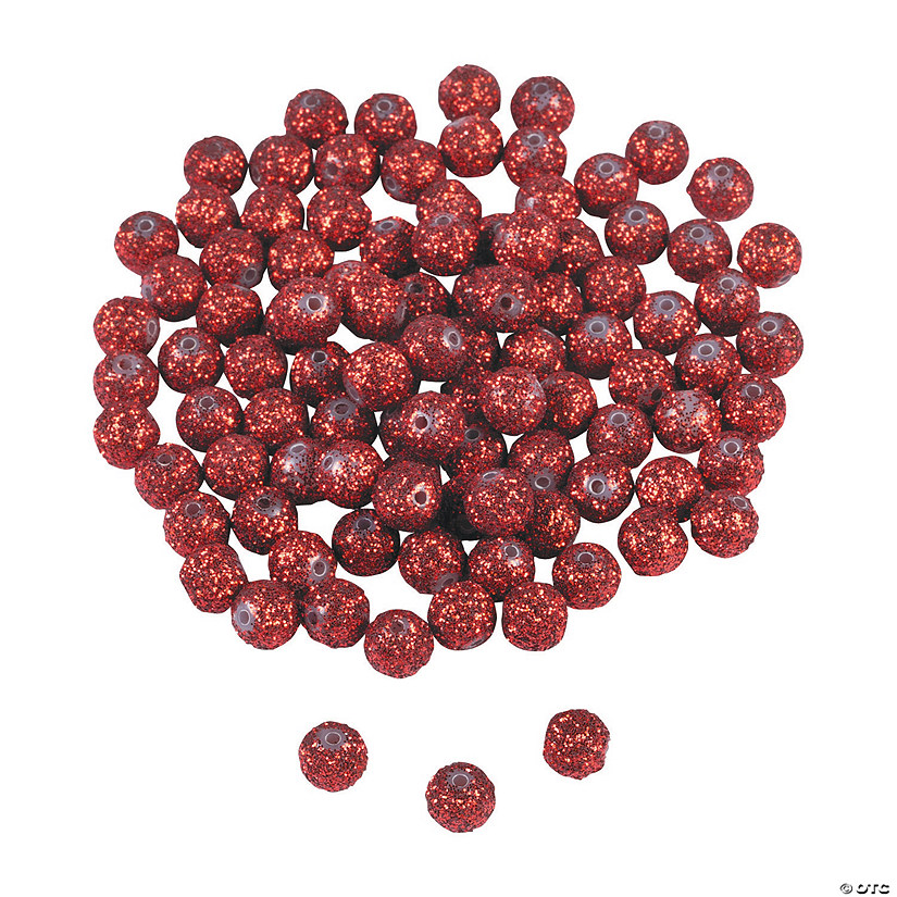 Red Glitter Beads