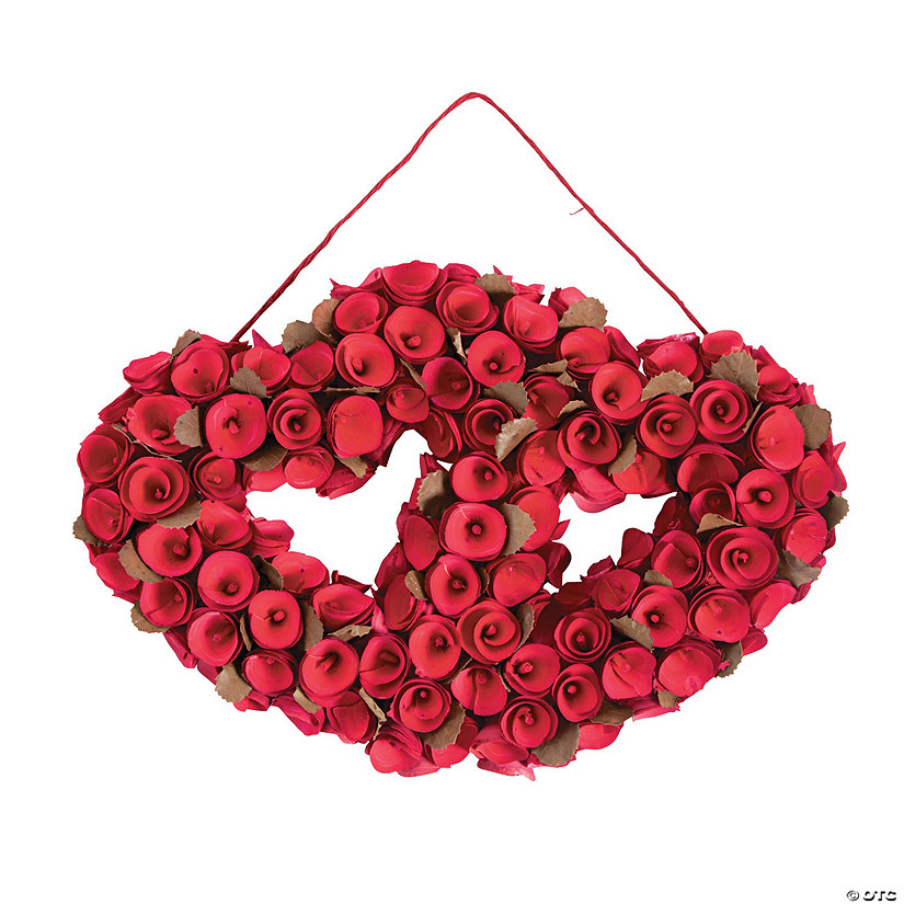 Red Rose Double Heart Wreath