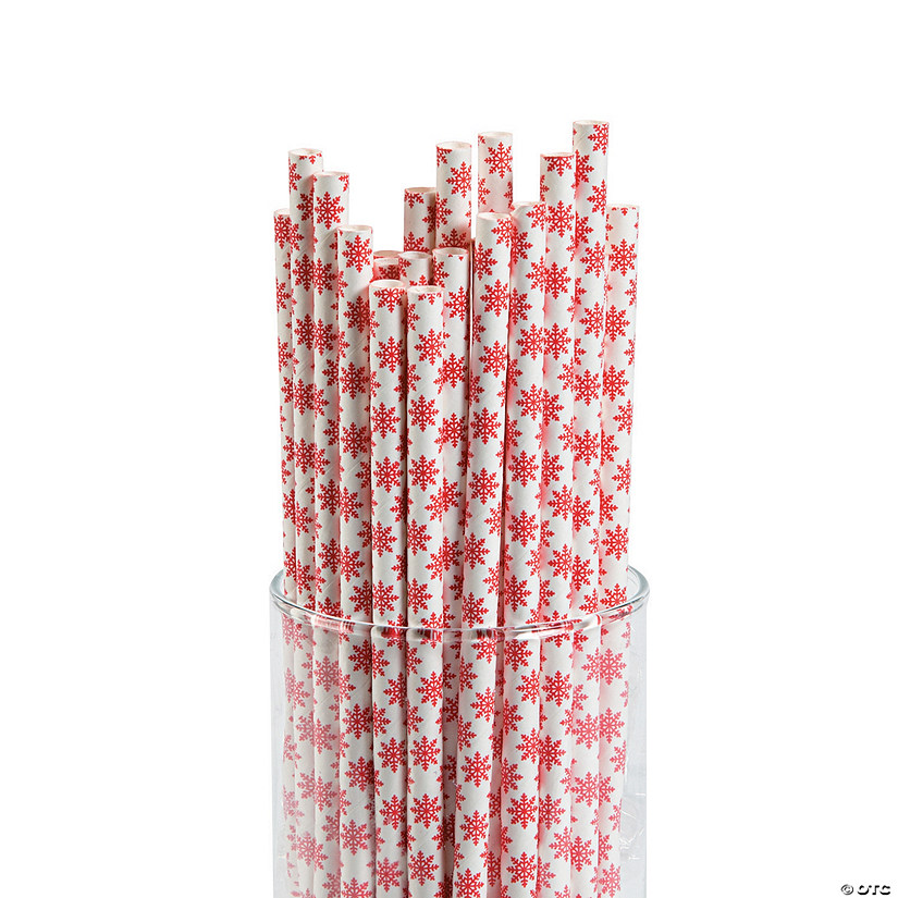 Red Snowflake Paper Straws