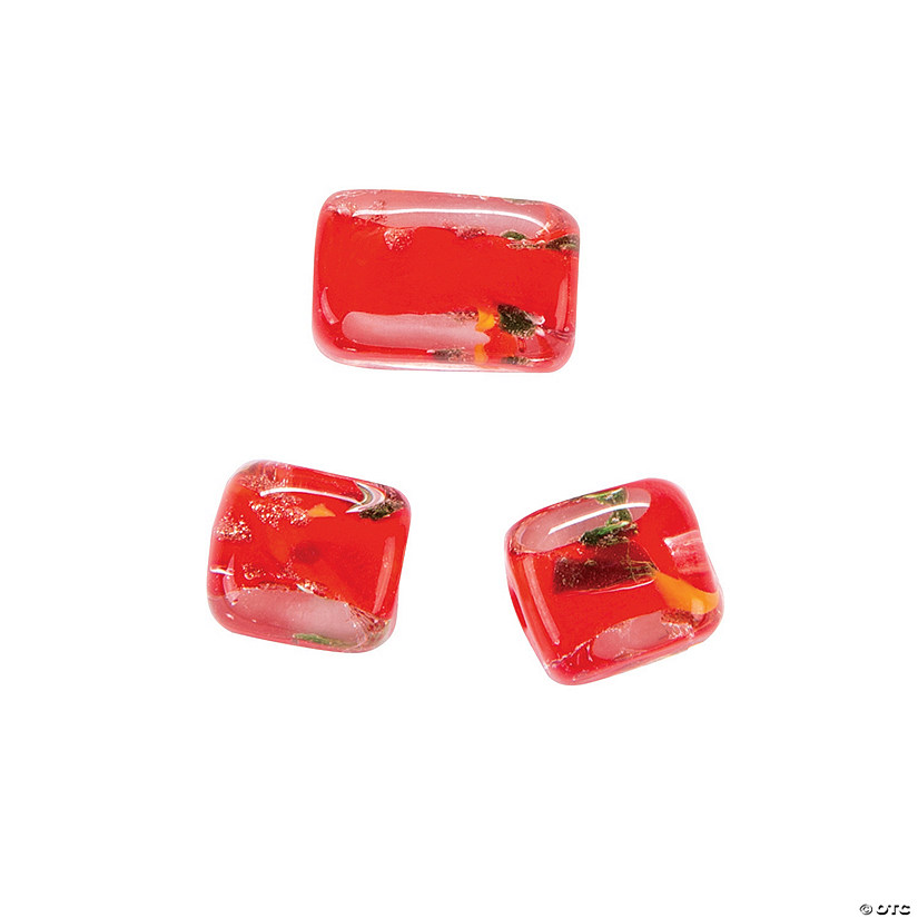 Red Sparkle Cube Beads