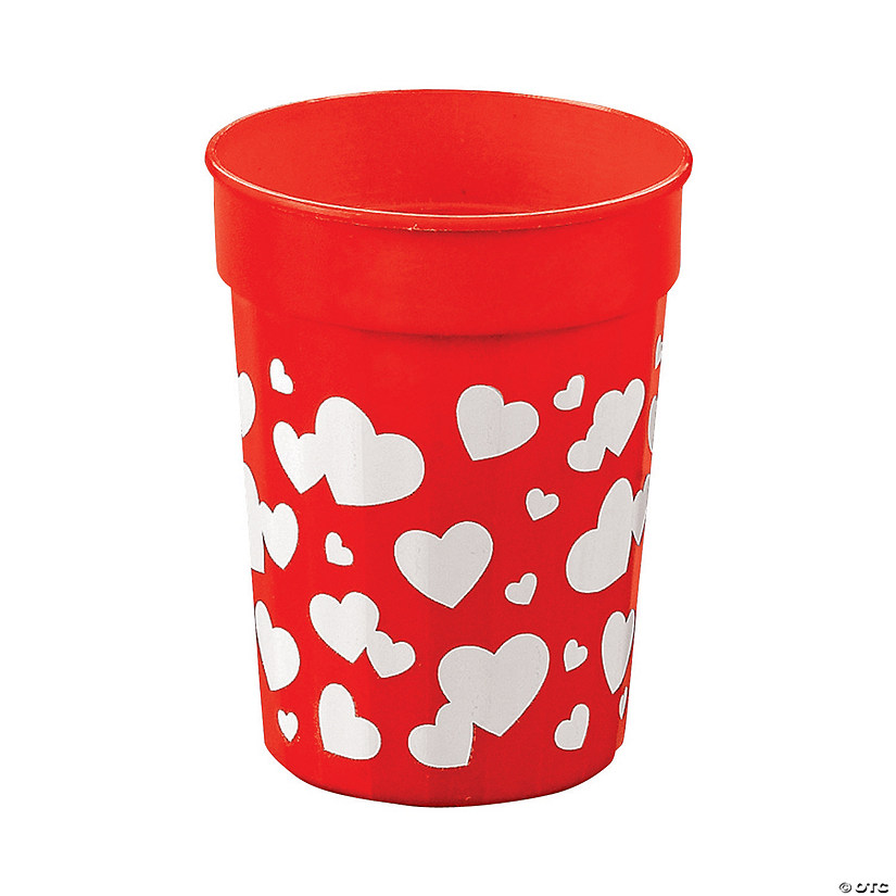 Red Valentine Plastic Cups with Hearts