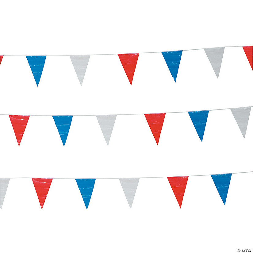 Red, White & Blue Plastic Pennant Banner