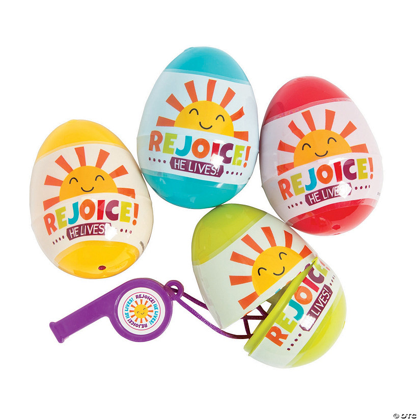 Rejoice Whistle-Filled Plastic Easter Eggs - 12 Pc.
