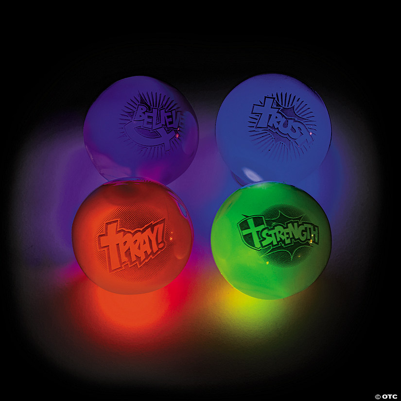 Religious Superhero Flashing Ball Assortment