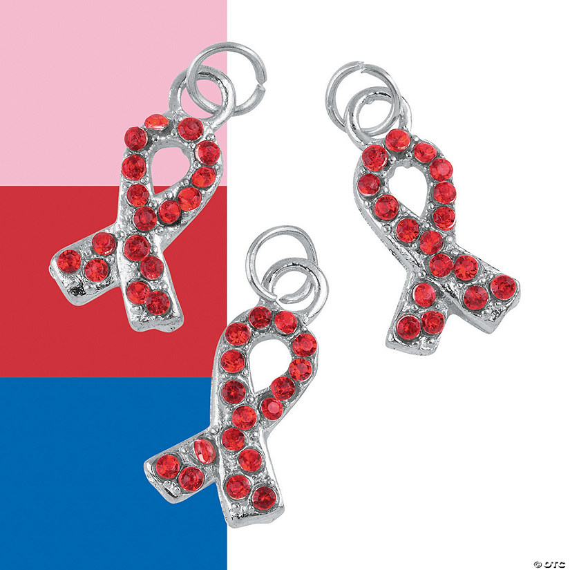 Rhinestone Awareness Ribbon Charms